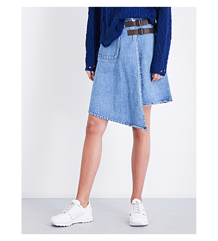 MIHARAYASUHIRO Raw-edge denim skirt (Blue