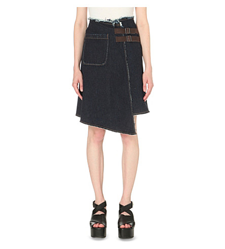 MIHARAYASUHIRO Raw-edge denim skirt (Dark+blue