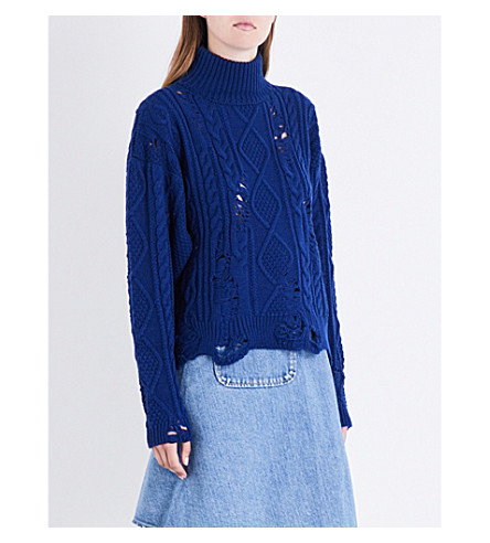 MIHARAYASUHIRO Distressed cable-knitted jumper (Blue