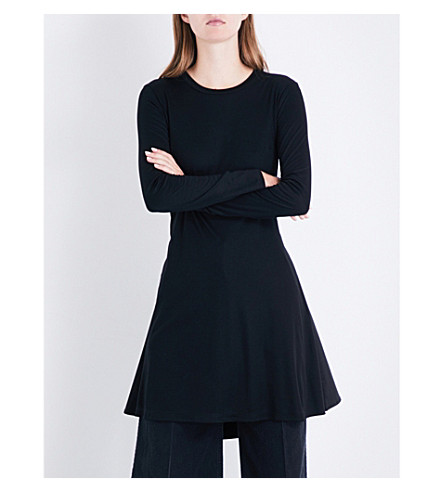 MIHARAYASUHIRO Pleated-back jersey and poplin shirt (Black