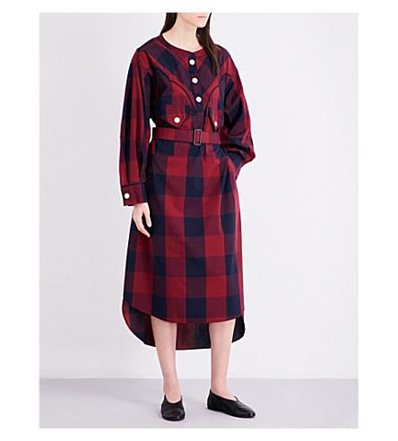 MIHARAYASUHIRO Buffalo check-print poplin shirt dress (Red