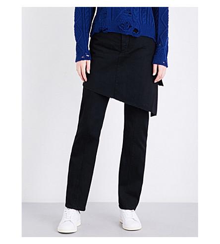 MIHARAYASUHIRO Asymmetric skirt-panel straight high-rise jeans (Black
