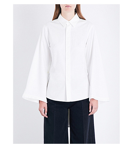 MIHARAYASUHIRO Pleated-back cotton-poplin shirt (White