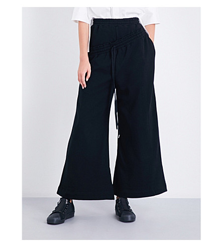 MIHARAYASUHIRO Wide high-rise cotton-jersey jogging bottoms (Black