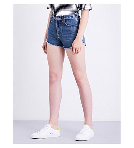 RAG & BONE Lou frayed-hem denim shorts (Cha+cha+room+100