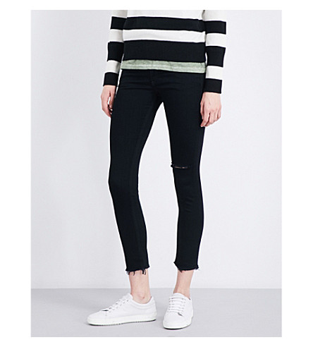 RAG & BONE Frayed-cuffs skinny mid-rise jeans (Frayed+nero+428