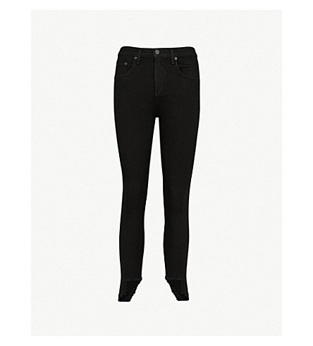 RAG & BONE 10 Inch Capri skinny stepped-hem high-rise jeans (Blk+hampton