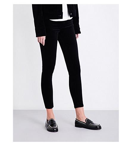 RAG & BONE Skinny cropped high-rise velvet jeans (Blk+velvet
