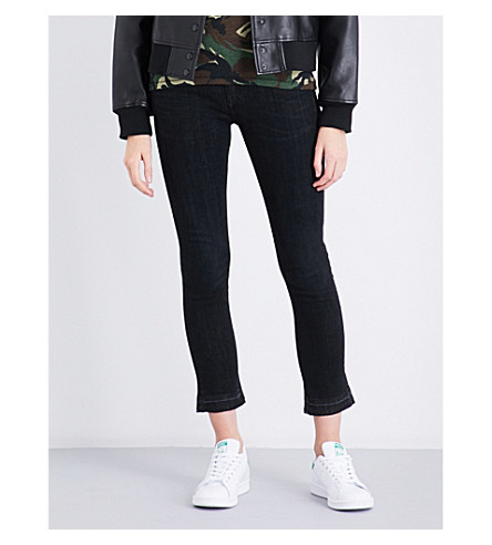RAG & BONE Faded high-rise kick-flare jeans (Concrete