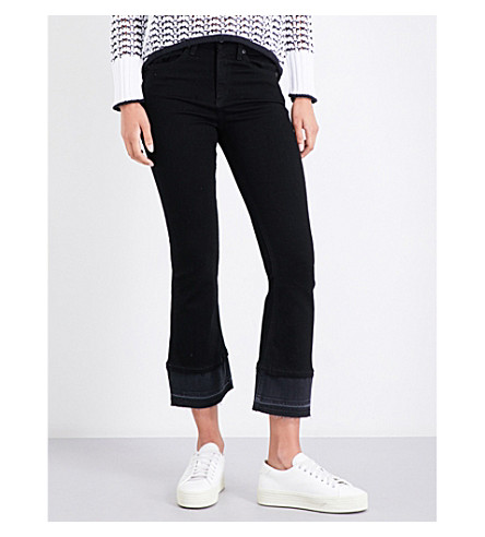 RAG & BONE Flared cropped high-rise jeans (Coal+dbl+hem+005