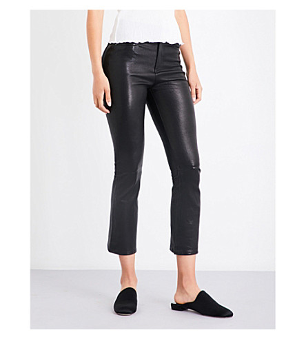 RAG & BONE Hana cropped leather trousers (Blk+leather