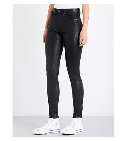 RAG & BONE Skinny leather trousers (Black+lthr