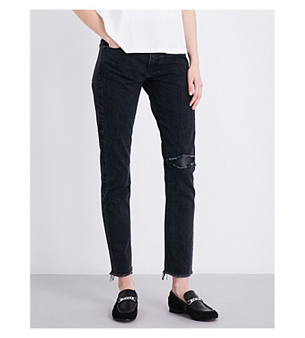 RAG & BONE Marilyn straight high-rise jeans (Blk+st+w+ltr
