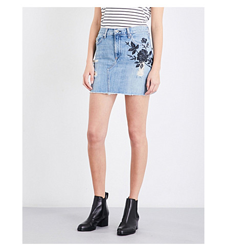 RAG & BONE Floral-embroidered denim mini skirt (Ram+embrdry+456