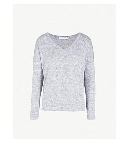 RAG & BONE Theo V-neck knitted T-shirt (Lt+grey