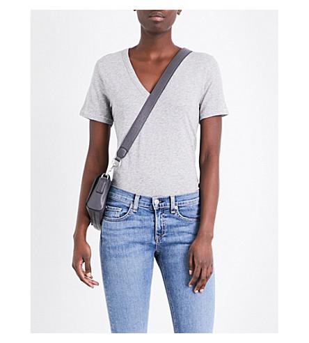 algodón en jaspeado cuello gris RAG amp; de con amp; BONE pico camiseta xXBZ7n