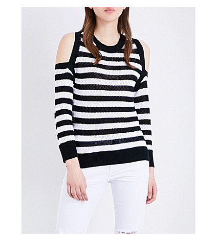 RAG & BONE Tracey cold shoulder striped cotton-knitted jumper (Black/white+951