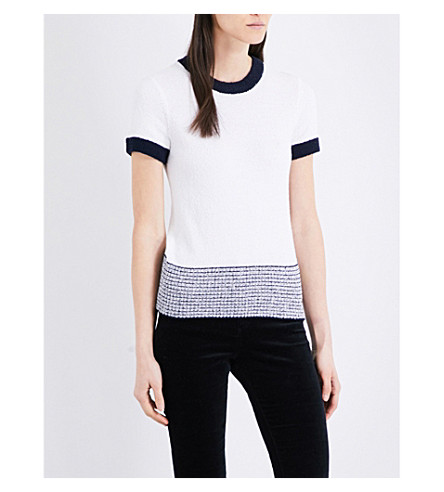 RAG & BONE Lindsay textured knitted T-shirt (Navy/white+410