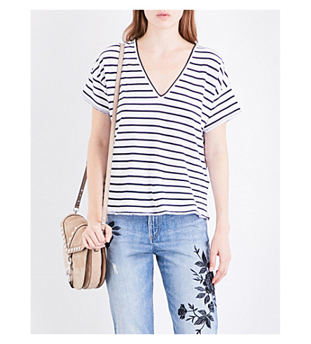 RAG & BONE Dakota V-neck striped cotton-jersey T-shirt (Navy/white