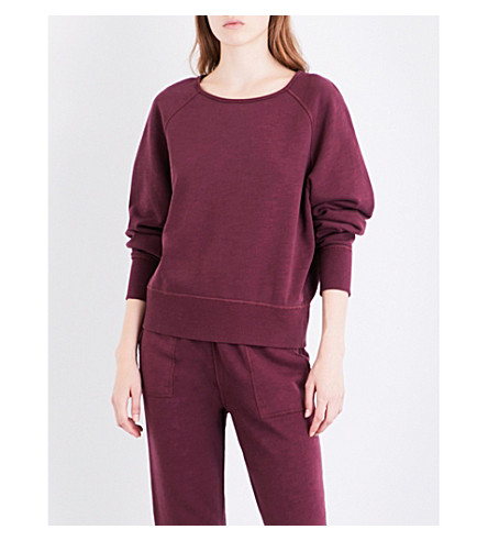RAG & BONE Cropped cotton-jersey sweatshirt (Port