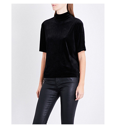 RAG & BONE Thea cutout velvet top (Black