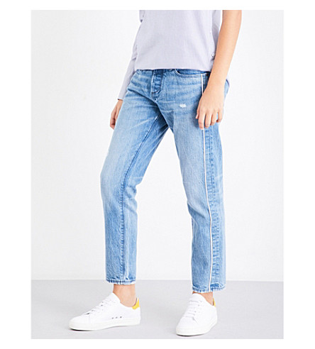 TORTOISE DENIM Savanna contrast-trim slim-fit cropped mid-rise jeans (Med+sky+blue+tuxedo