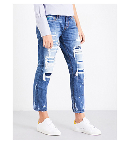 TORTOISE DENIM Savanna distressed slim-fit straight mid-rise jeans (Med+signature+knit+patch