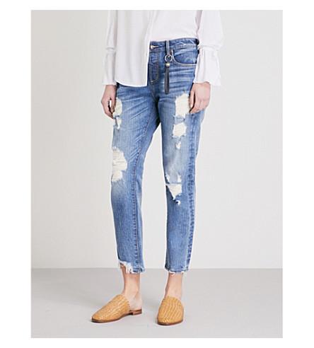 TORTOISE DENIM Savanna distressed relaxed mid-rise jeans (Med+blue+lake+wiser+mark