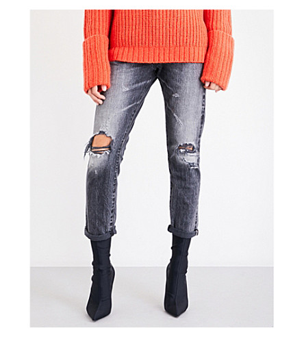 TORTOISE DENIM Dory distressed high-rise tapered jeans (Aged+black+distressed