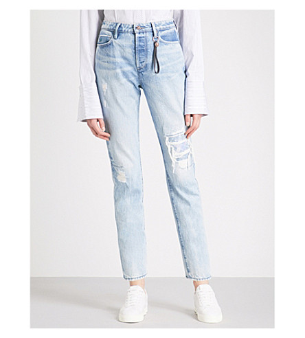 TORTOISE DENIM Dory distressed tapered cropped jeans (Lt+core+blue+wiser+nova