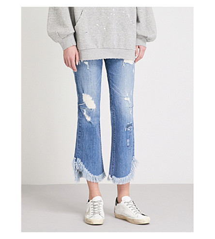 TORTOISE DENIM Bella Tulla distressed flared mid-rise jeans (Blue+alps+wise+schematic