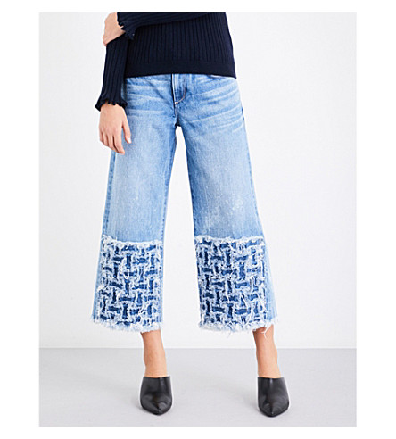 TORTOISE DENIM Canni contrast-panel wide cropped high-rise jeans (Sky+blue+weave