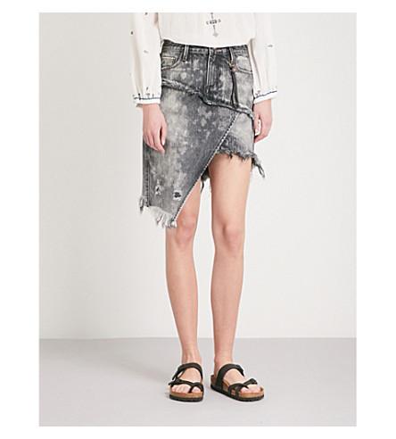 TORTOISE DENIM Elseya distressed stretch-denim skirt (Black+rain+wiser+prose
