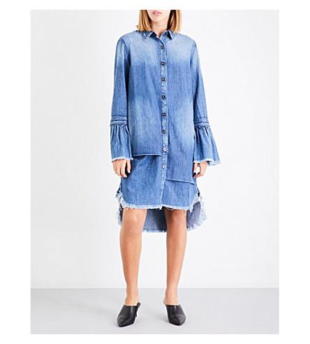 TORTOISE DENIM Cecil flared-cuff denim shirt dress (Med+indigo