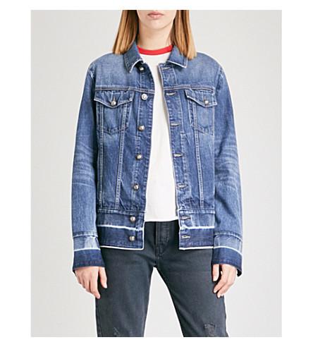 TORTOISE DENIM Shelby released-hem denim jacket (Med+aqua+blue+wiser