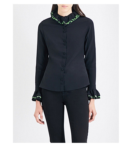 ROCKINS Leopard-print ruffled silk-crepe de chine shirt (Black/+green