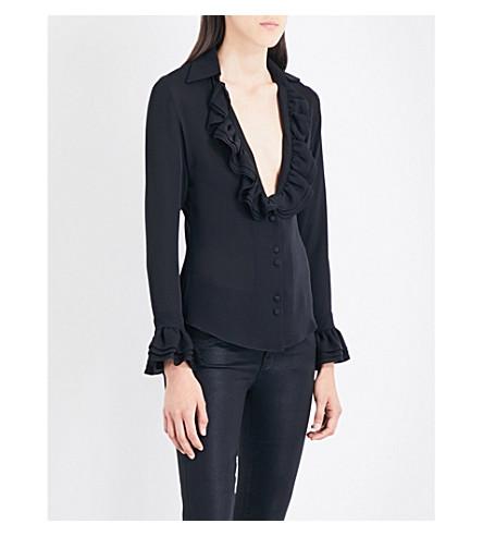 ROCKINS V-neck ruffled silk shirt (Black+satin