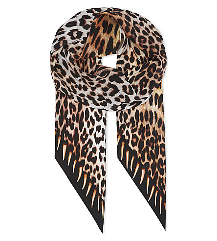 ROCKINS Leopards teeth silk scarf (Gold