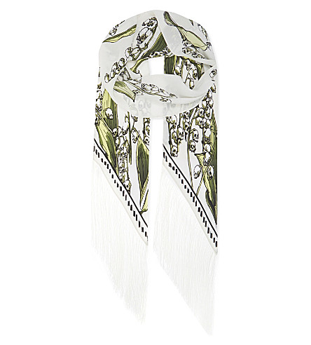 ROCKINS Skullflower fringed skinny silk scarf (Ivory