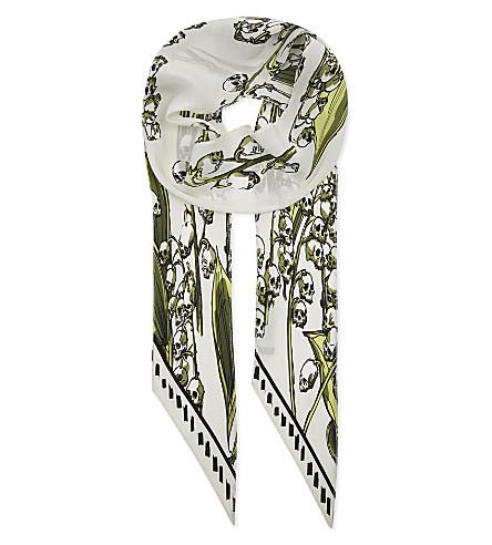 ROCKINS Skullflower super skinny silk scarf (Ivory