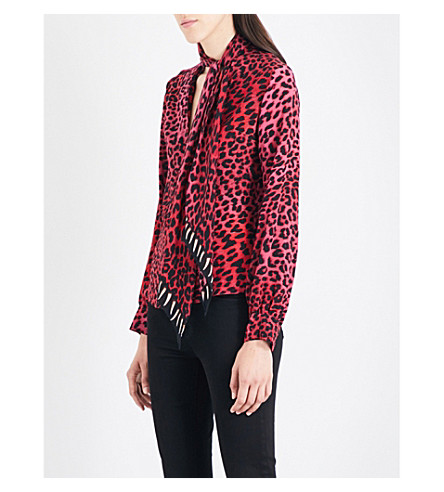 ROCKINS Leopard-print pussybow silk-crepe shirt (Pink+leopard