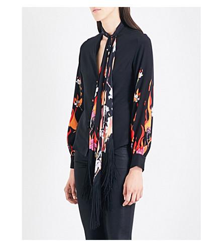 ROCKINS Flower and Flames-print silk-crepe de chine shirt (Black