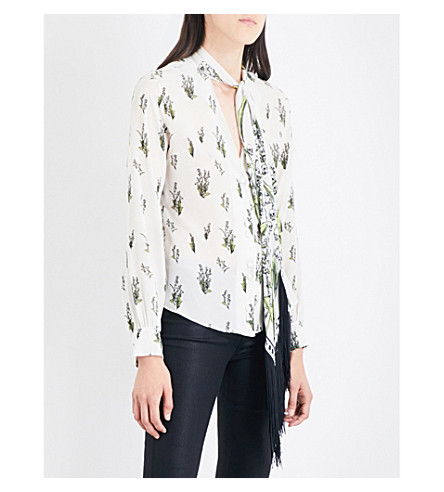 ROCKINS Skully of the Valley fringed silk-crepe de chine shirt (Ivory