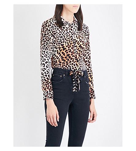 ROCKINS Leopard-print silk-crepe shirt (Natural+leopard