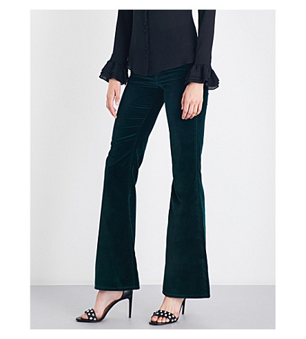ROCKINS Flared high-rise velvet jeans (Emerald+green