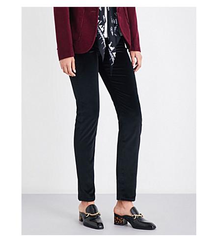 ROCKINS Classic skinny high-rise velvet jeans (Black