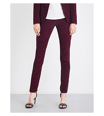 ROCKINS Skinny low-rise corduroy jeans (Bordeaux