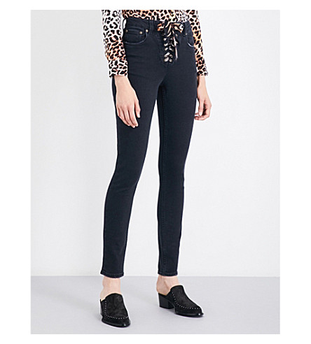 ROCKINS Lace-up skinny high-rise jeans (Washed+black