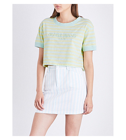 GUESS X ASAP ROCKY Guess Originals x A$AP Rocky logo-embroidered cotton-jersey cropped top (Green/yellow