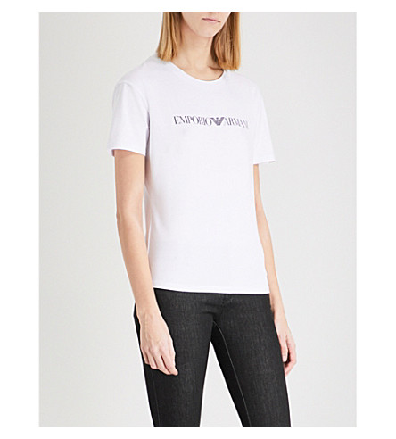 ARMANI JEANS Logo-print stretch-cotton T-shirt (Bianco+ottico+0100